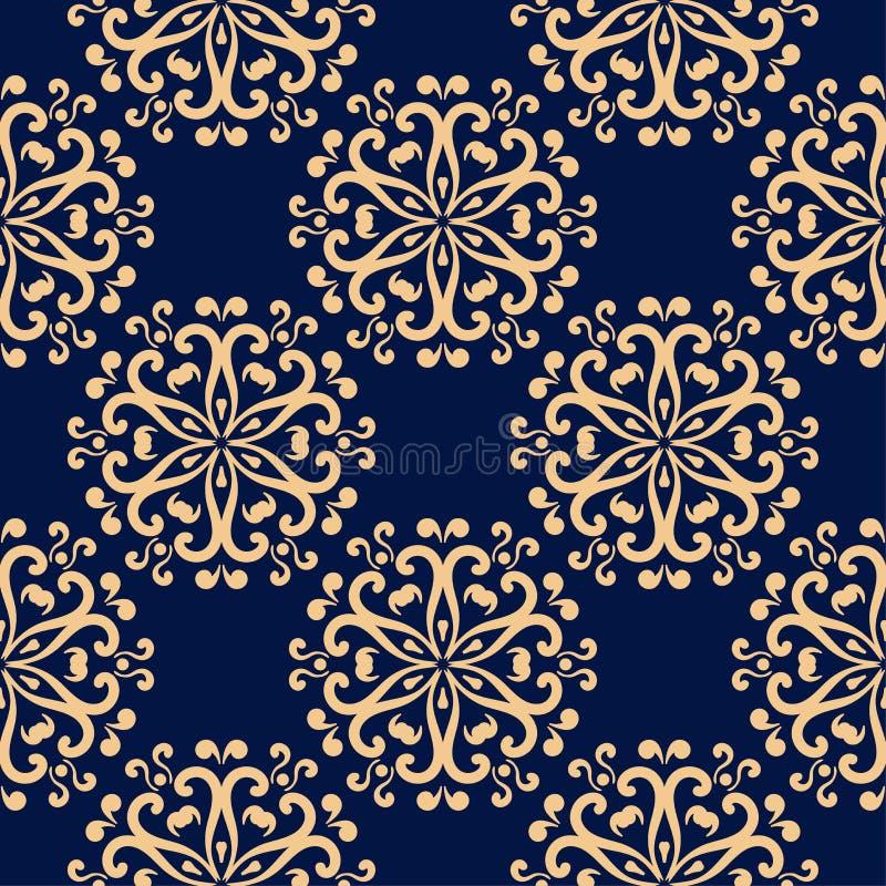 Gouden bloemen naadloos patroon op blauwe achtergrond stock illustratie