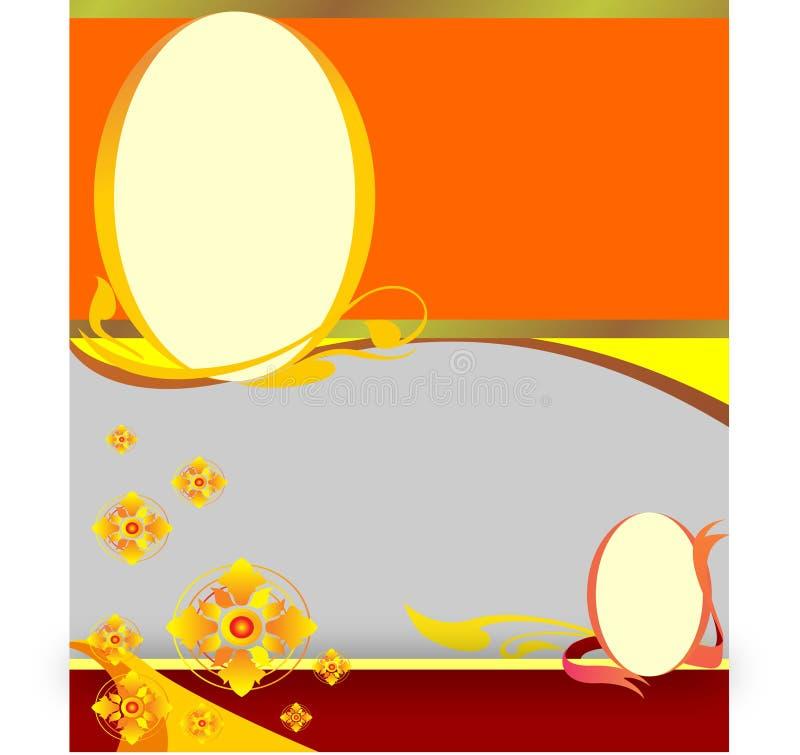Gouden bloemen ovale achtergrond royalty-vrije illustratie