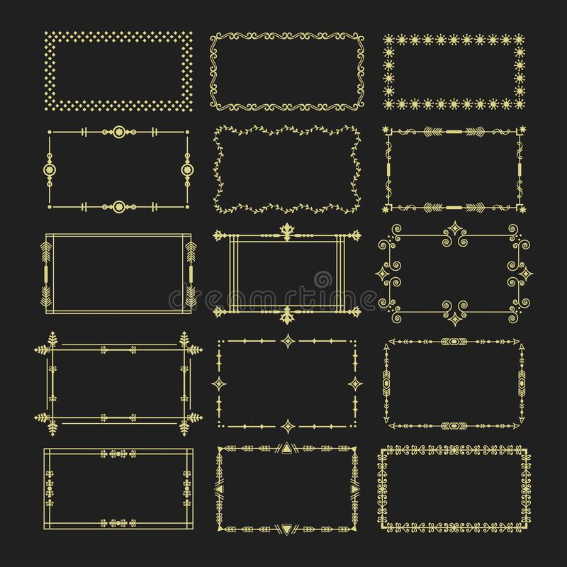 Gouden bloemendie het embleempictogrammen van het rechthoekkader op zwarte achtergrond worden geplaatst vector illustratie
