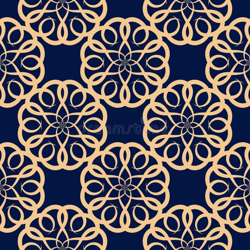 Gouden bloemenelement op donkerblauwe achtergrond Naadloos patroon stock illustratie