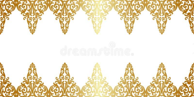 Gouden bloemengrens royalty-vrije illustratie