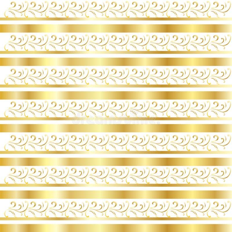 Gouden bloemengrenspatroon vector illustratie