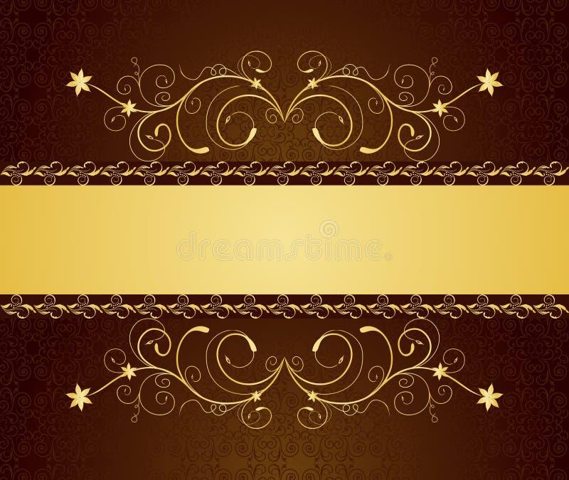 Gouden bloemengroetkaarten en uitnodiging royalty-vrije illustratie