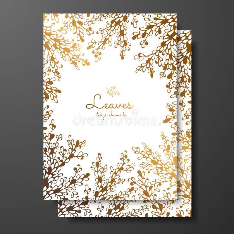 Gouden bloemenkaartmalplaatje met abstracte installaties Malplaatjekader voor verjaardag en groetkaart, huwelijksuitnodiging, spa vector illustratie