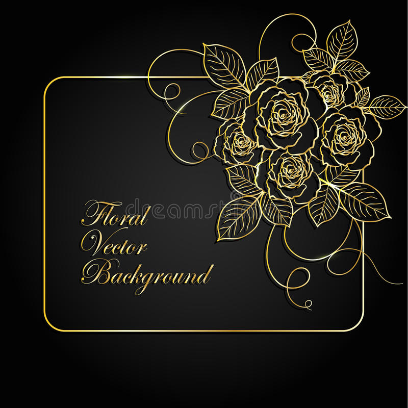 Gouden bloemenkader vector illustratie