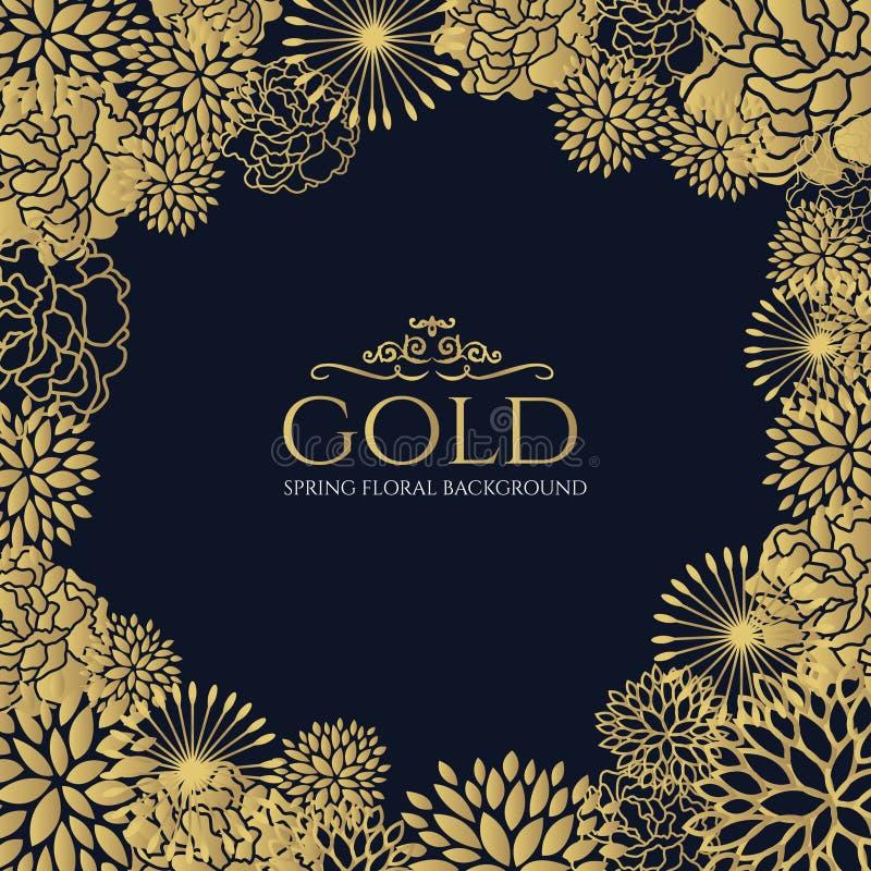 Gouden bloemenkader op donkerblauw achtergrond vectorkunstontwerp royalty-vrije illustratie