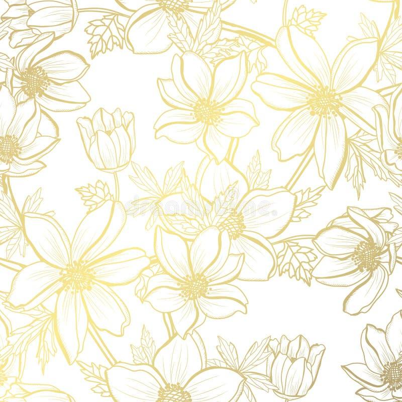 Gouden bloemenpatroon royalty-vrije illustratie