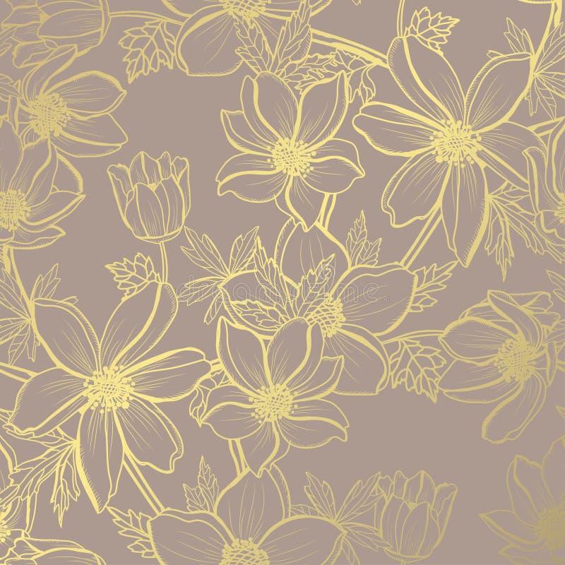 Gouden bloemenpatroon stock illustratie