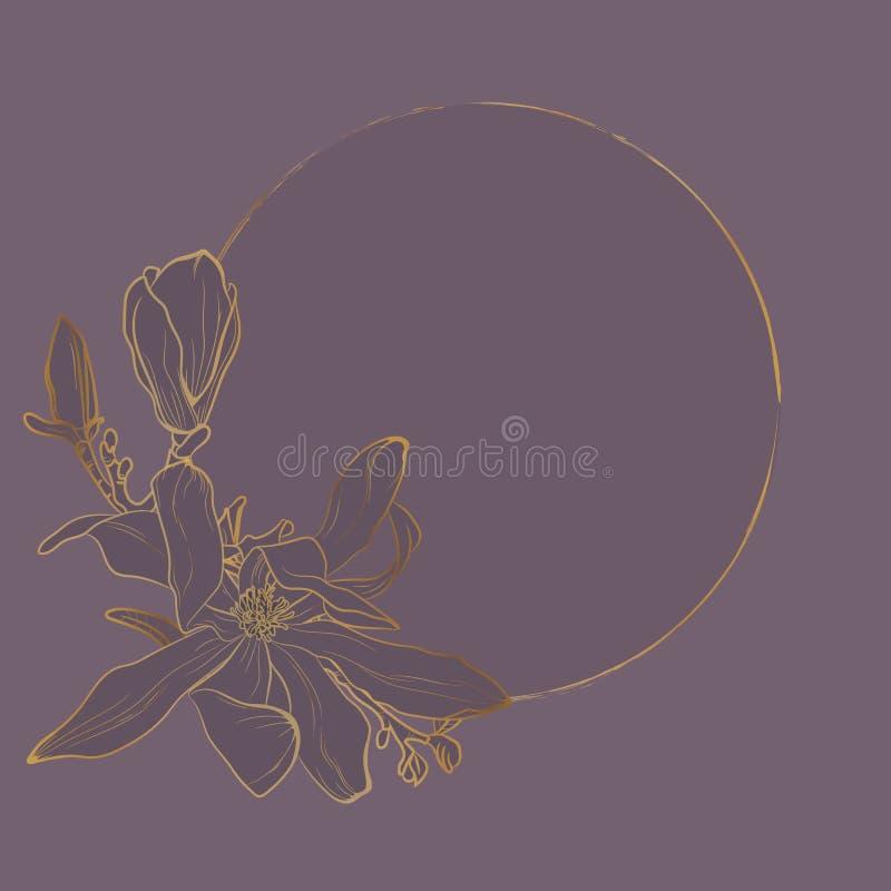 Gouden Bloemenuitnodiging Gouden bloemenkader voor huwelijksuitnodiging, groetkaarten royalty-vrije illustratie
