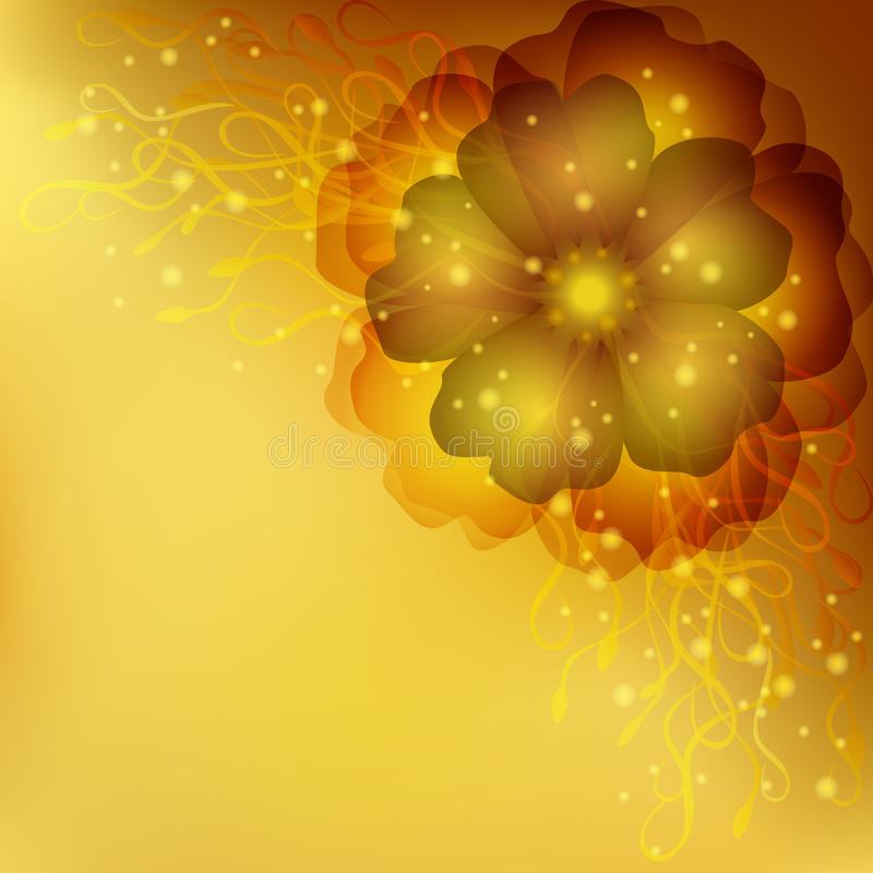 Gouden bloemenuitnodiging of groetkaart stock illustratie