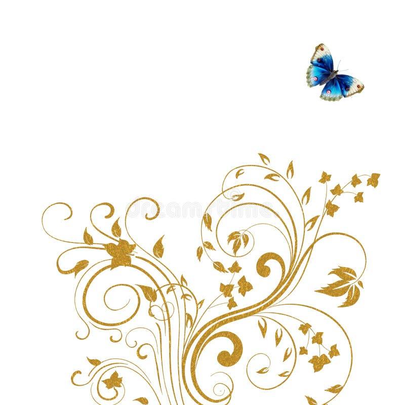 Gouden bloemenvlinderachtergrond stock illustratie