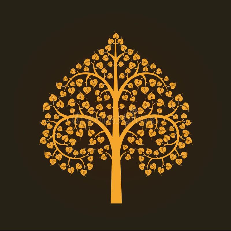 Gouden Bodhi-boomsymbool, illustratie stock illustratie