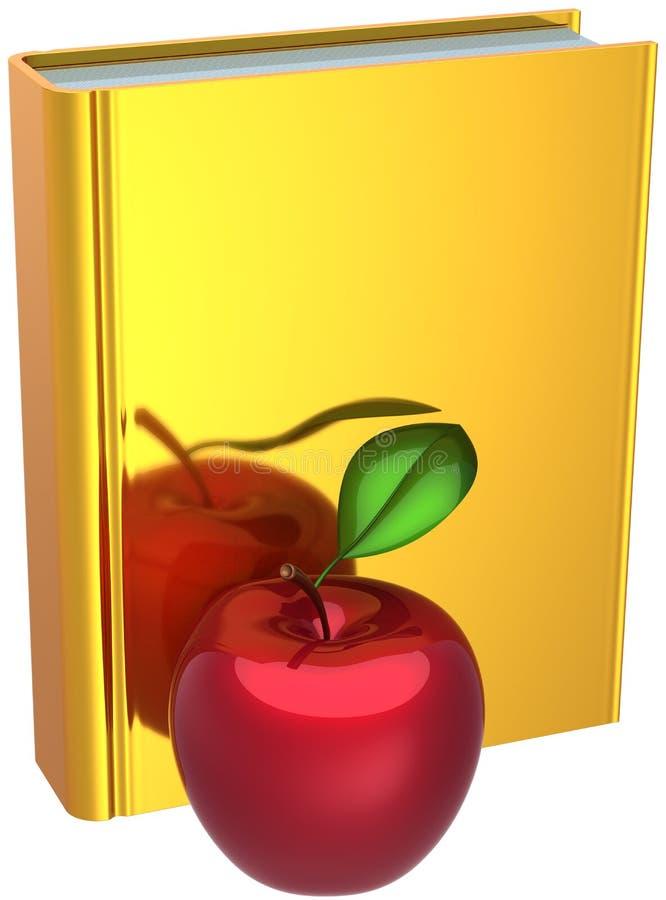 Gouden boek en rode appel. Terug naar school stock illustratie