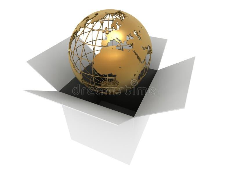 Gouden bol in een doos vector illustratie