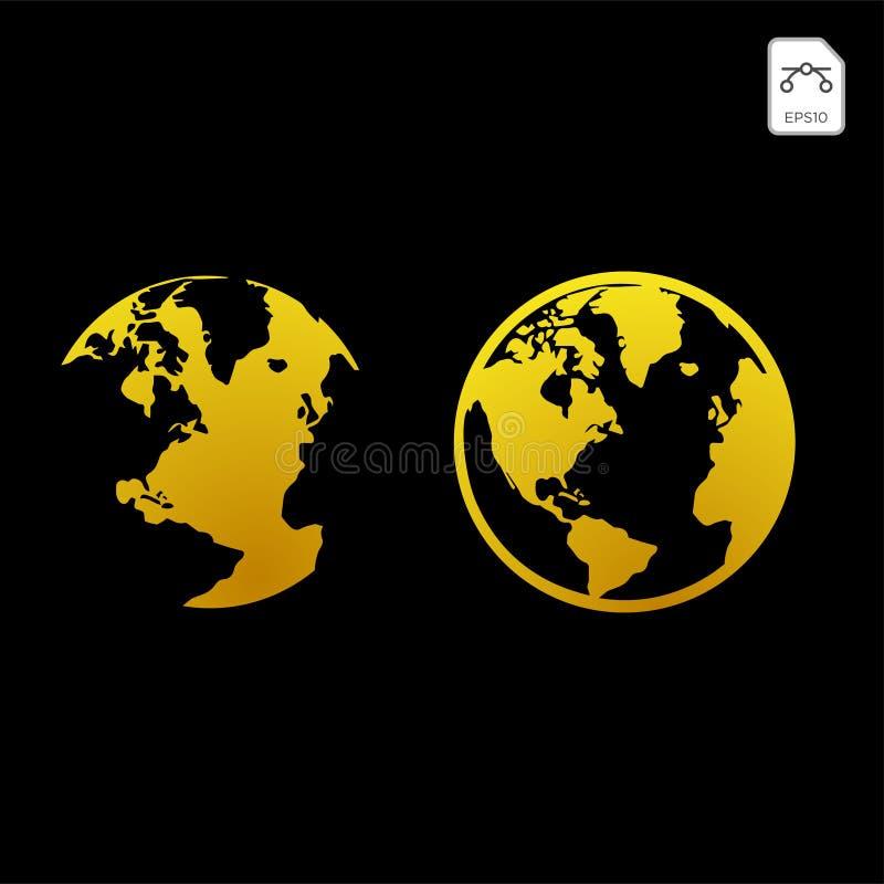 Gouden bolpictogram De glanzende Aarde van het commerciële illustratie de industrie vectorconcept, wereldweb wijd vector illustratie