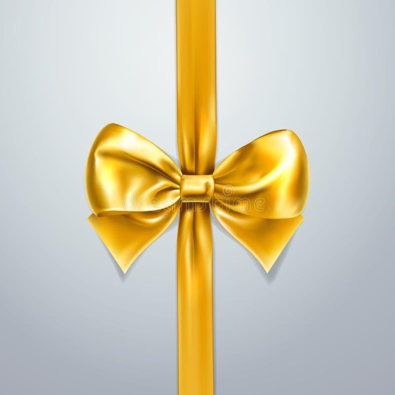 Gouden boog en lint Zijde, satijn of folie Het element van de verpakkingsdecoratie Vector 3d realistische vakantieillustratie Sam stock illustratie