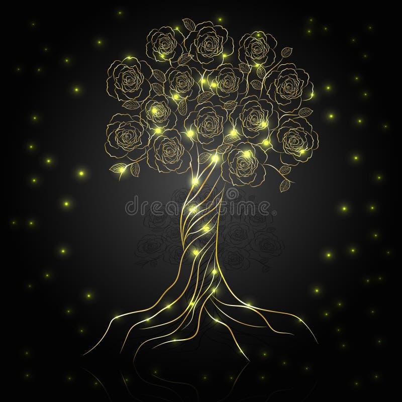 Gouden boom met bloemen royalty-vrije illustratie