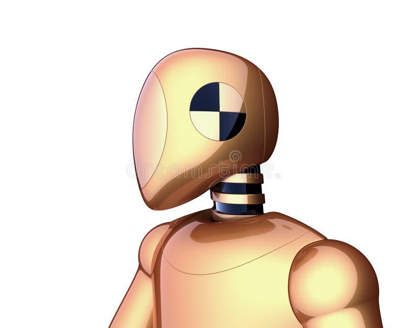 Gouden bot van robot futuristische cyborg androïde gele metaal vector illustratie