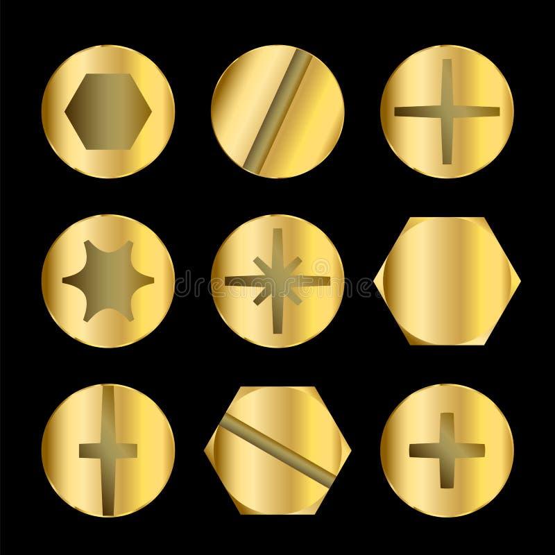 Gouden Bout en Schroefhoofden royalty-vrije illustratie