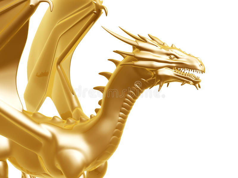 Gouden branddraak royalty-vrije illustratie
