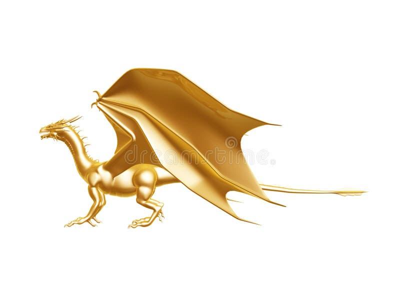 Gouden branddraak stock illustratie
