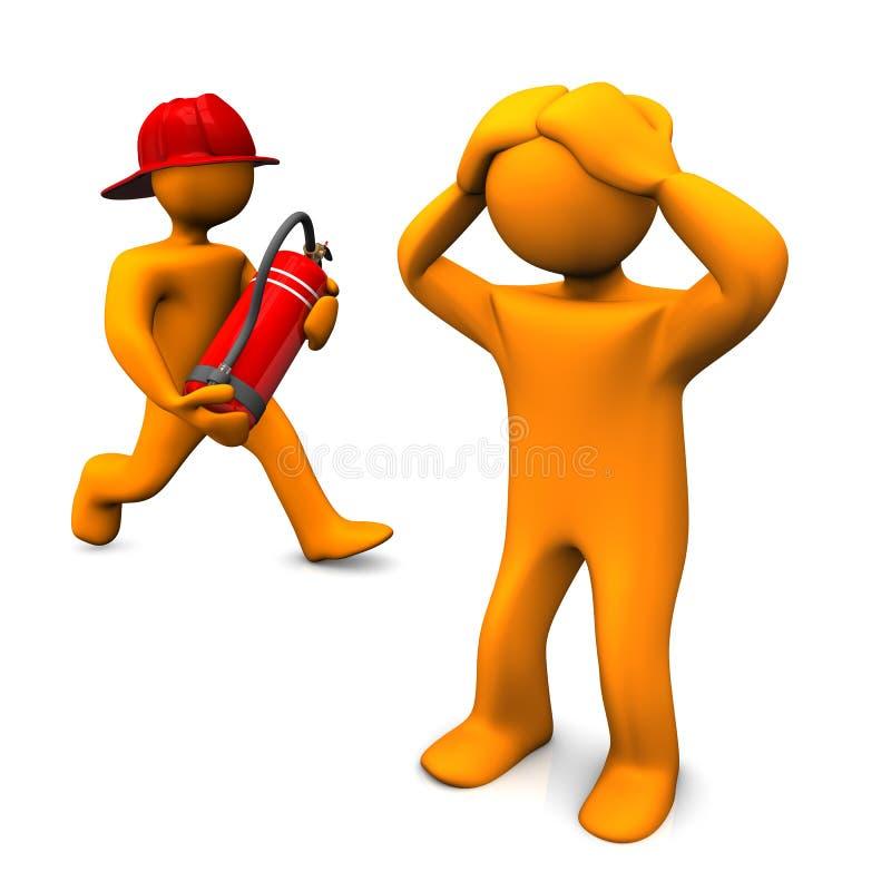 Gouden brandweerman vector illustratie