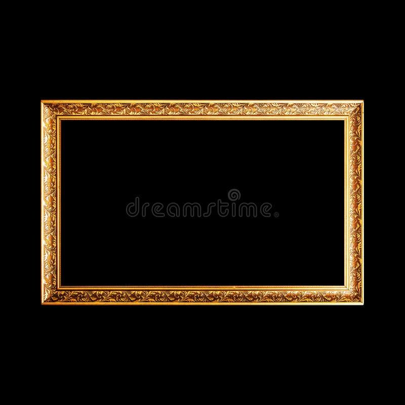 Gouden breed houten die kader op zwarte wordt geïsoleerd royalty-vrije stock afbeelding