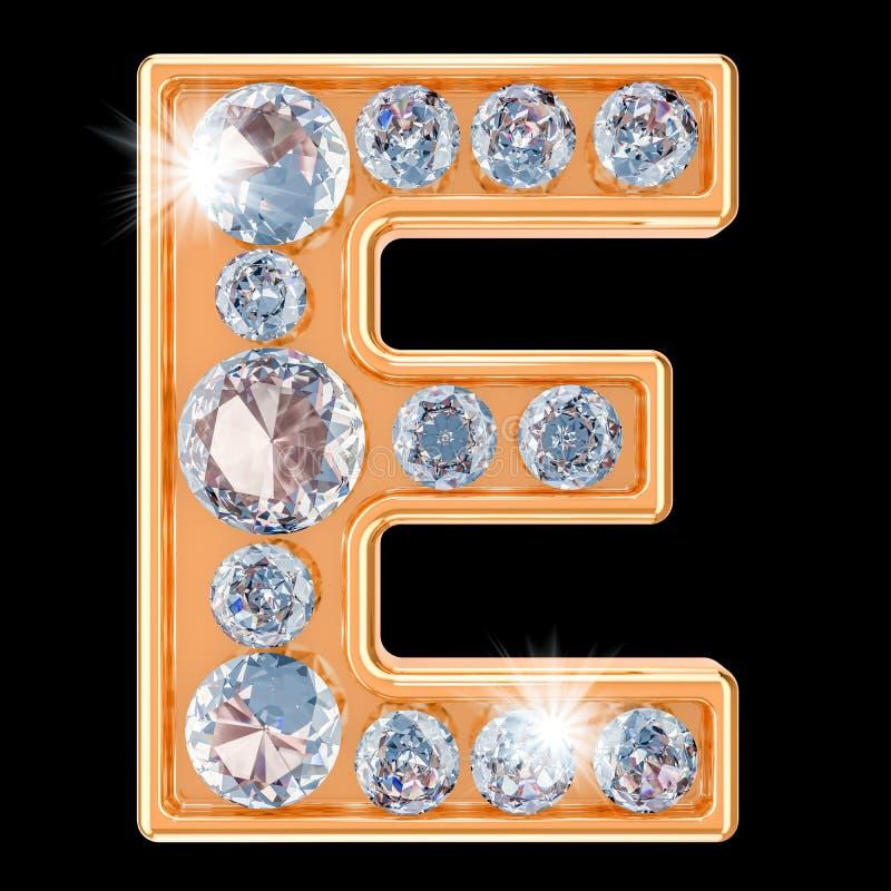 Gouden brief E met diamanten het 3d teruggeven stock illustratie