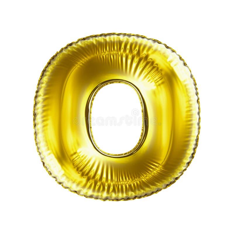 Gouden brief O die van opblaasbare ballon wordt gemaakt die op witte achtergrond wordt geïsoleerd stock afbeeldingen