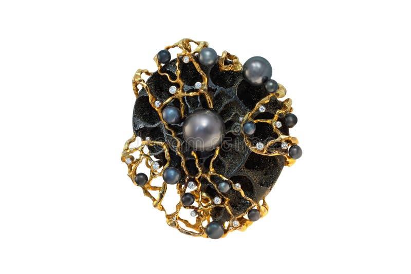 Gouden broche met parels en diamanten stock afbeeldingen