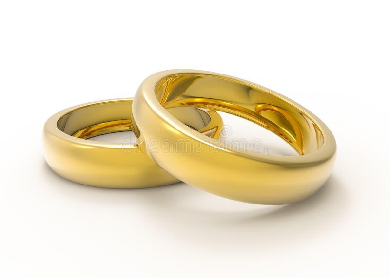 Gouden bruiloftringen op witte achtergrond worden geïsoleerd die stock illustratie