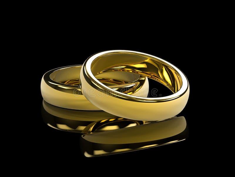Gouden bruiloftringen op zwarte achtergrond en weerspiegelende lijst stock illustratie