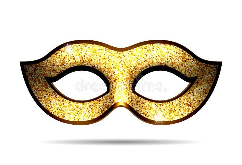 Gouden Carnaval-masker royalty-vrije illustratie