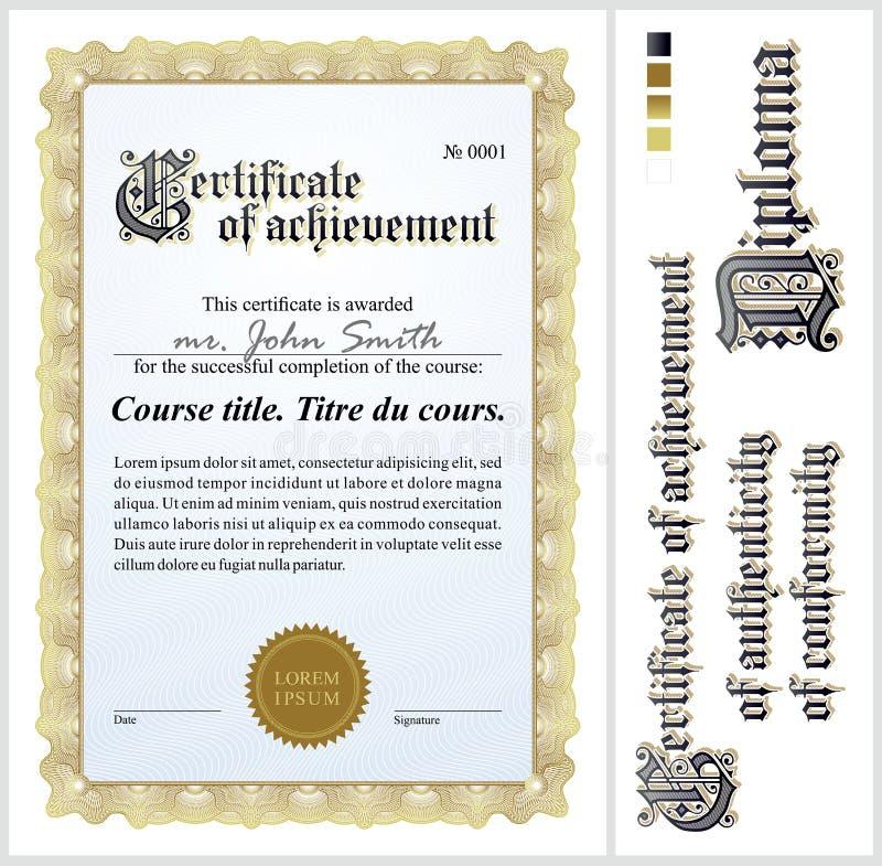 Gouden certificaat malplaatje verticaal royalty-vrije illustratie