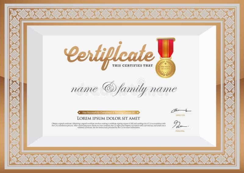 Gouden Certificaat van Voltooiingsmalplaatje Thais kunstelement stock illustratie