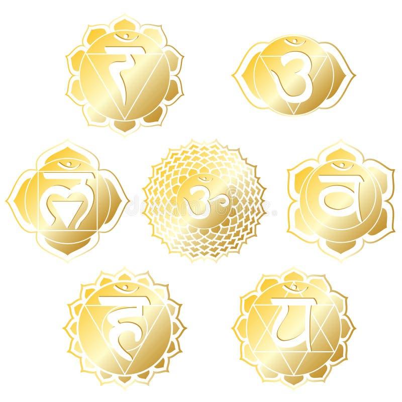 Gouden Chakras stock illustratie
