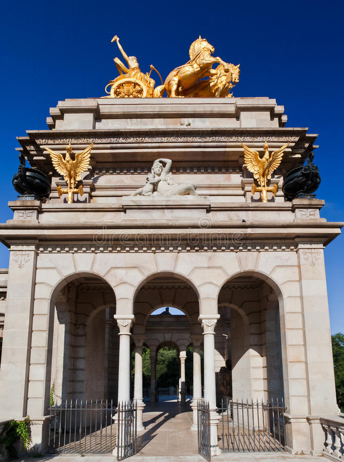 Gouden Charriot Parc DE La Ciutadella Barcelona royalty-vrije stock afbeeldingen