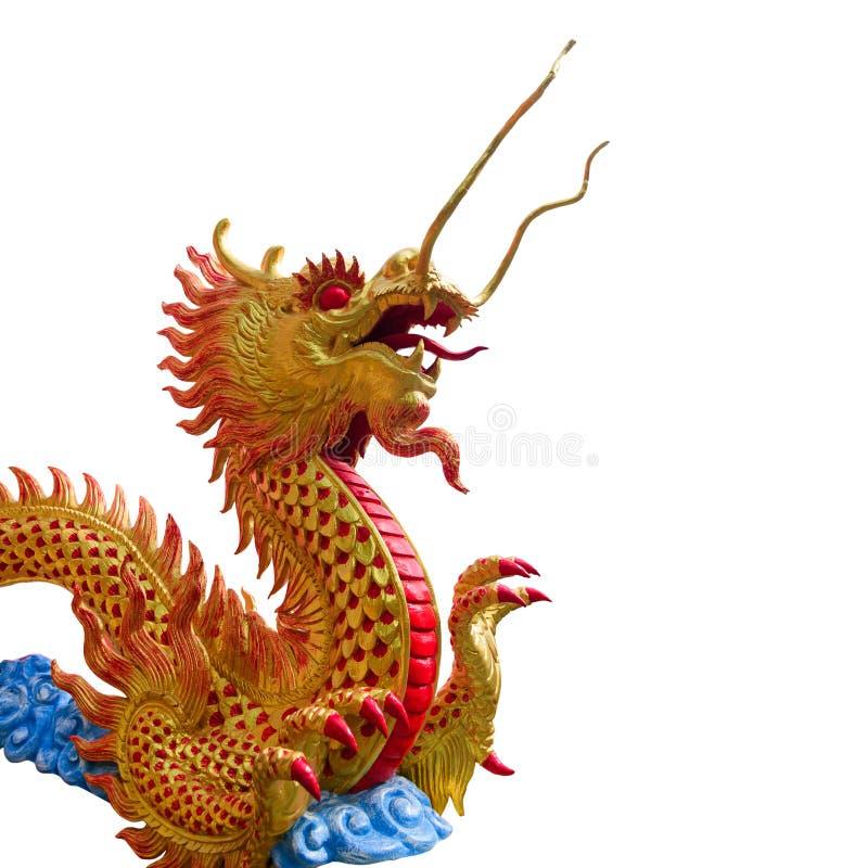 Download Gouden Chinees Draakstandbeeld Stock Foto - Afbeelding bestaande uit standbeeld, macht: 107708256