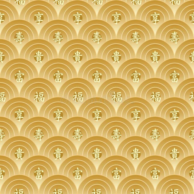 Gouden Chinees Naadloos Patroon royalty-vrije illustratie
