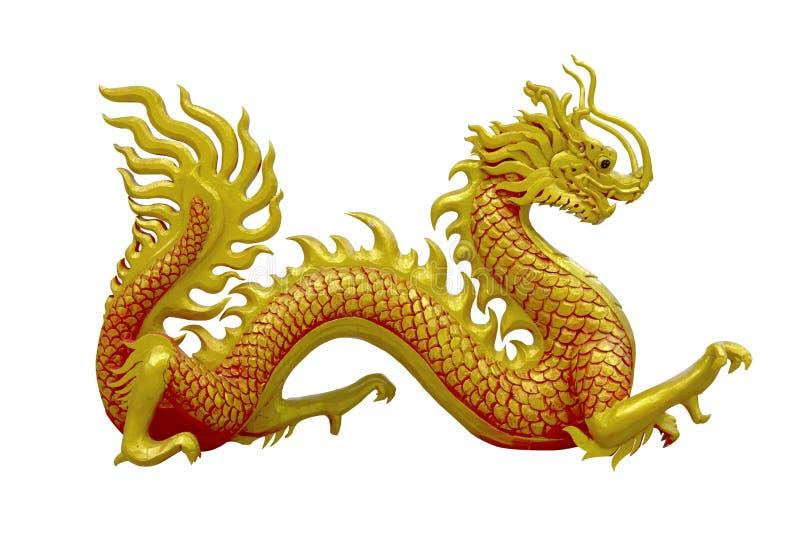 Gouden Chinese draak op isolate achtergrond royalty-vrije stock afbeeldingen