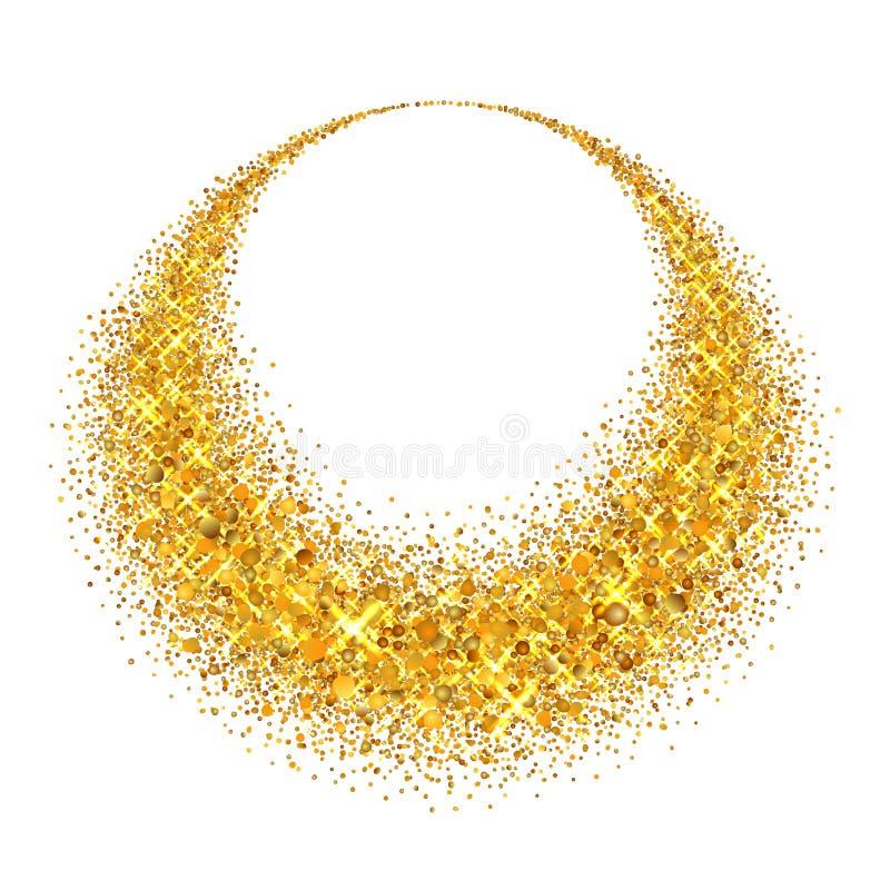 Gouden cirkel Het licht schittert effect Gouden ring, geïsoleerde witte achtergrond Ellips magisch element De Textuur van de foli stock illustratie