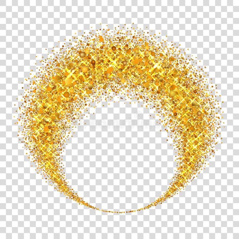 Gouden cirkel Het licht schittert effect Gouden ring, geïsoleerde witte transparante achtergrond Ellips magisch element folie royalty-vrije illustratie