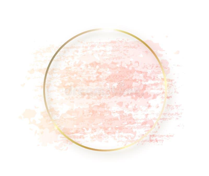 Gouden cirkelkader met pastelkleur naakte roze textuur en schaduw die op witte achtergrond wordt geïsoleerd Geometrische ronde vo royalty-vrije illustratie