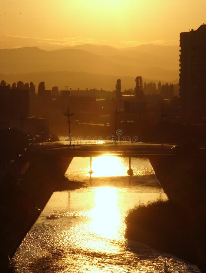 Gouden cityscape stock foto's