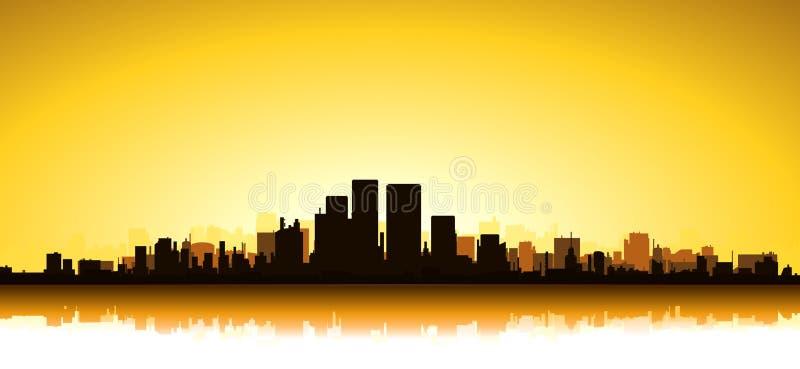 Gouden Cityscape stock illustratie