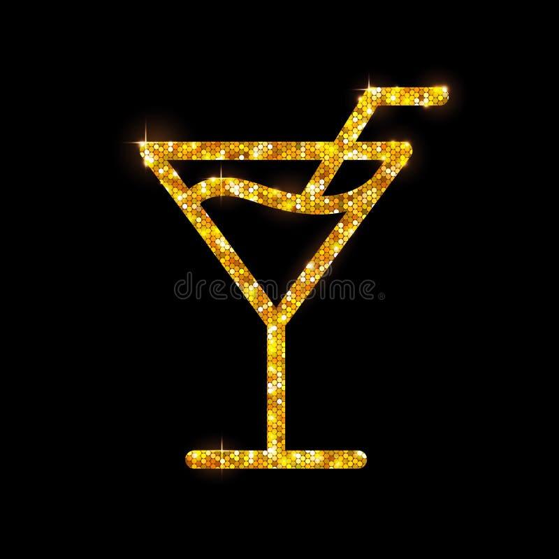 Gouden cocktail Kosmopolitisch vlak pictogram royalty-vrije illustratie