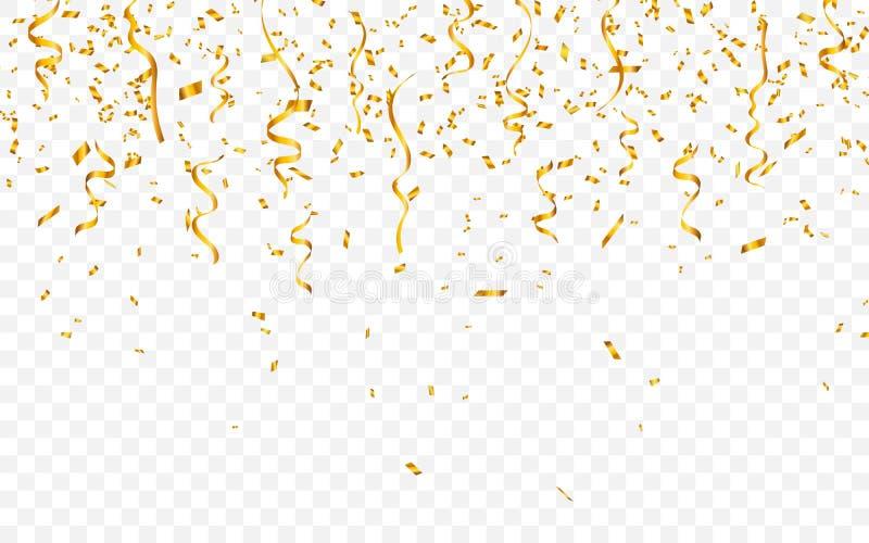 Gouden confettien De linten van vieringscarnaval De kaart van de luxegroet Vector illustratie royalty-vrije illustratie