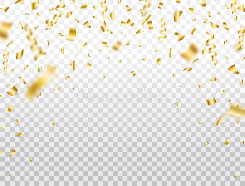 Gouden confettien op transparante achtergrond Dalende glanzende gouden confettien Partijachtergrond Helder schitter feestelijk kl royalty-vrije illustratie