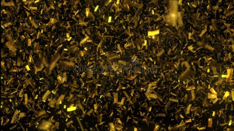 Gouden confettiendaling op zwarte achtergrond 3D Illustratie stock afbeelding