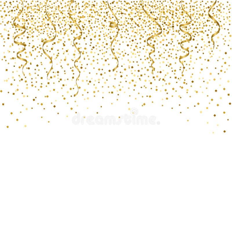 Gouden confettienviering Vectorgolldachtergrond royalty-vrije illustratie